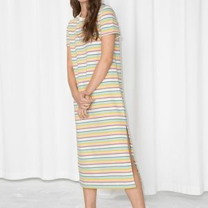 & other stories striped midi shirt dress NEW